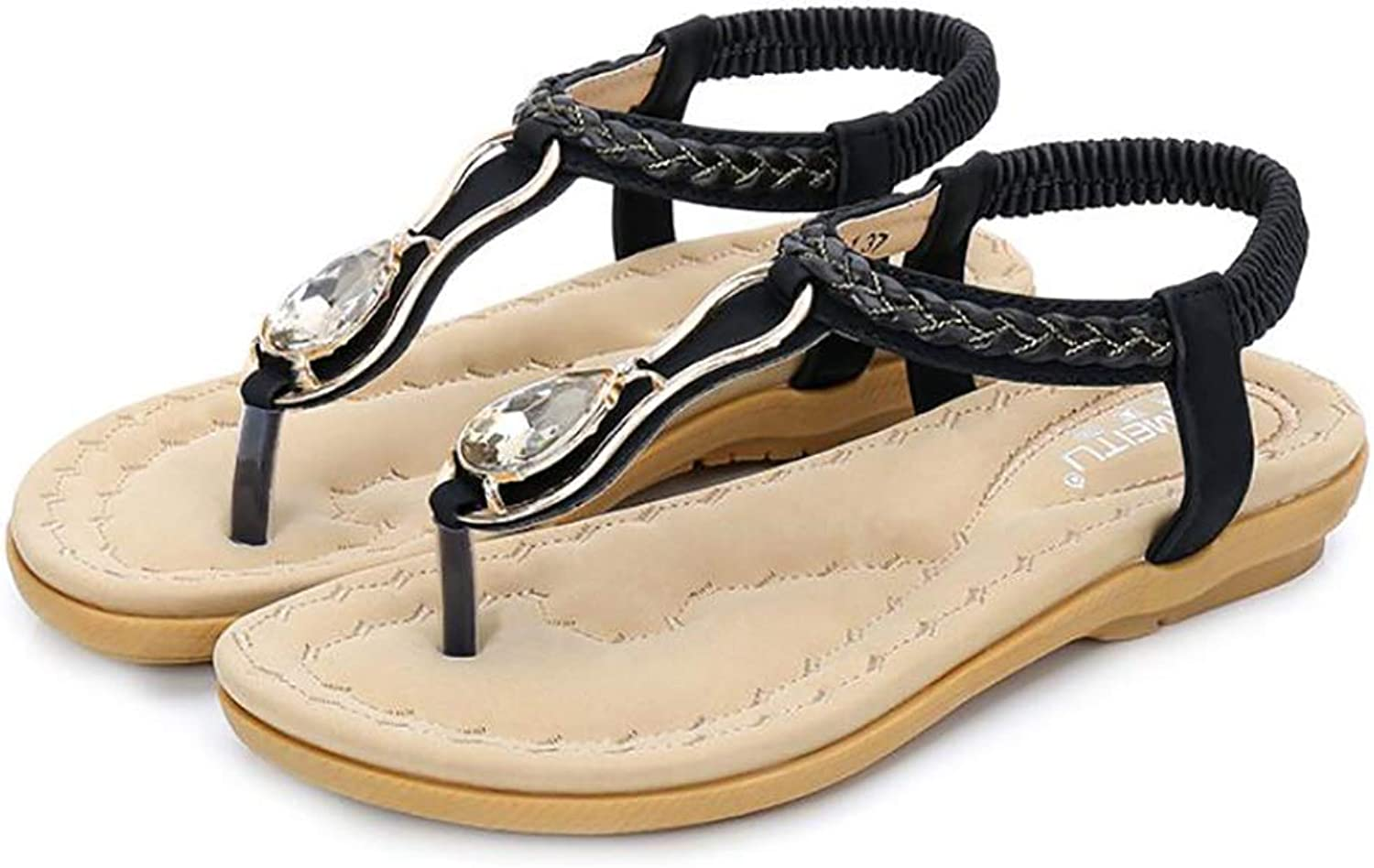 Women Summer Sandals Low Flat Heel Flip Flop Beach Party New Bohemia Slipper,Black,37