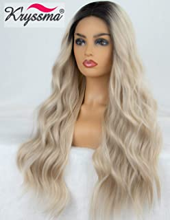 K'ryssma Blonde Lace Front Wig Ombre Dark Roots Natural Looking Glueless Long Wavy Ombre Synthetic Wig for Women Heat Resistant 22 inches