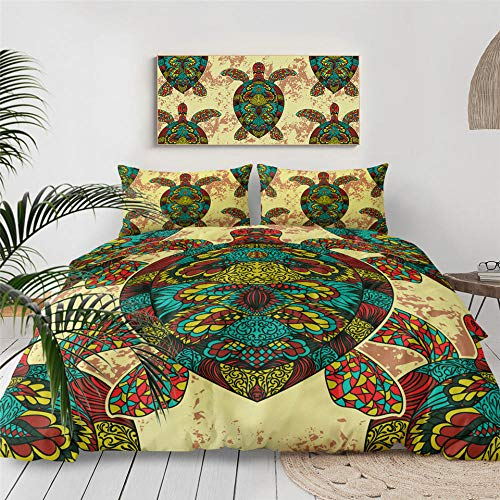 Yooseso Boys Duvet Covers Set Cartoon Colorful Animal Turtle Double 200 X 200 Cm Hypoallergenic Soft Microfiber Bedding Double Bed Duvet Cover Zipper Closure (1 Quilt Cover + 2 Pillowcases 50X75Cm)
