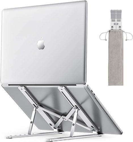 OMOTON Laptop Stand, Adjustable Aluminum Laptop Tablet Stand, Foldable Portable Desktop Holder Compatible with All La...