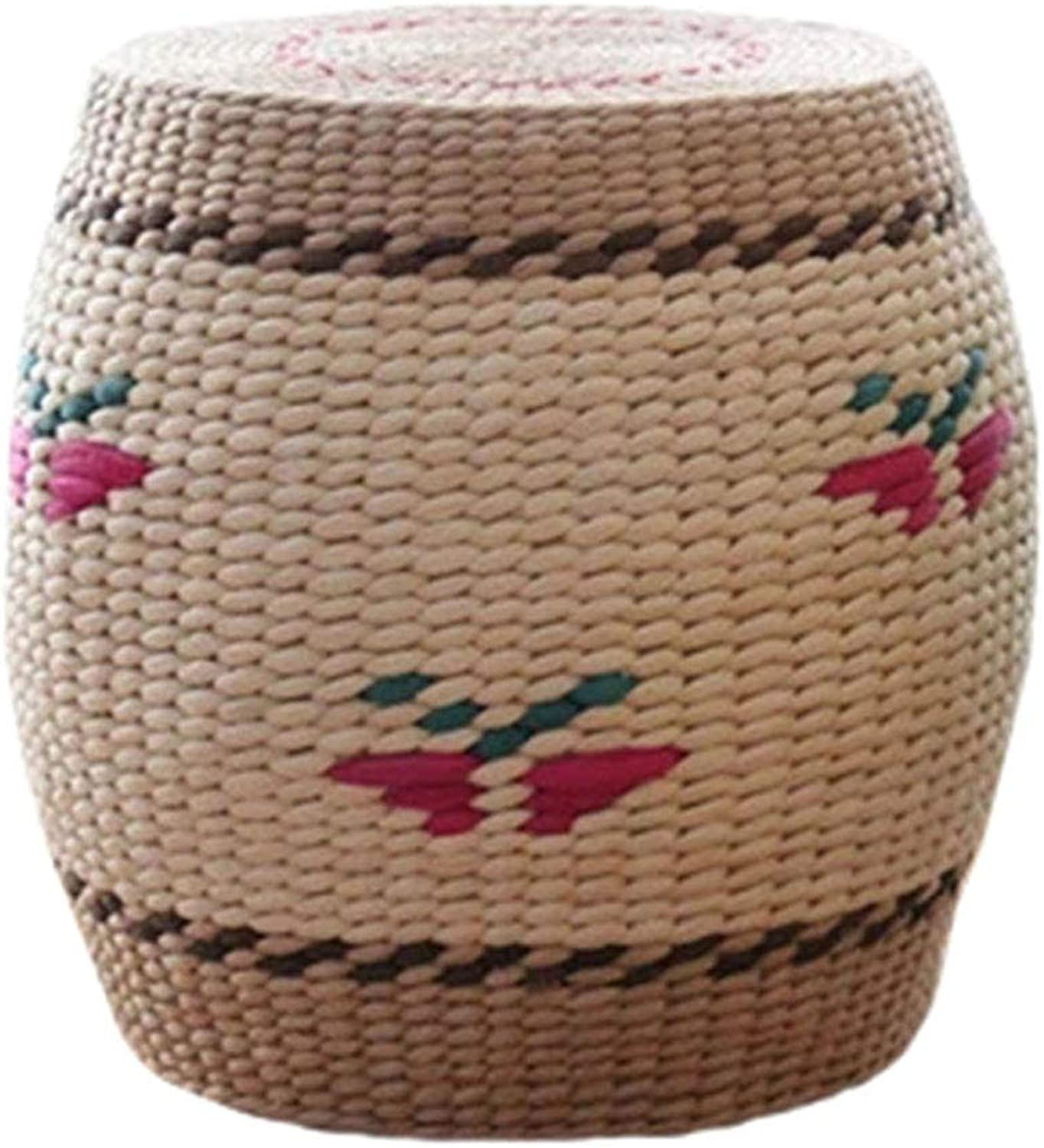 ZHAOYONGLI Stool Hand-Woven Small Stool Fashion Creative Stool Change shoes Stool Solid Wood Grass Sitting Living Room Coffee Table Stool Creative Solid Durable Long Lasting (color   C)