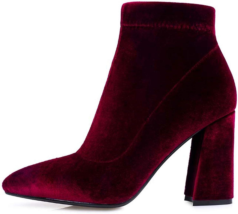 Ankle Boots Velvet Autumn Boots Sexy Hoof High Heel Women shoes Side Zipper Winter Footwear