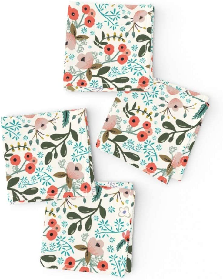 Roostery Spoonflower Cloth Max 75% OFF Cocktail Albuquerque Mall Bloom Nature Floral Napkins