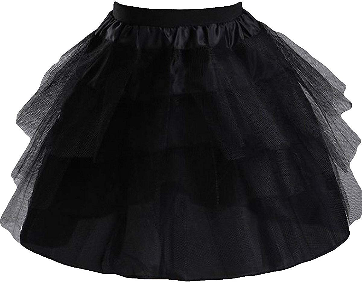 SlenyuBridal Girls 3 Layers Tulle Short Wedding Flower Girl Petticoat Slips Underskirt