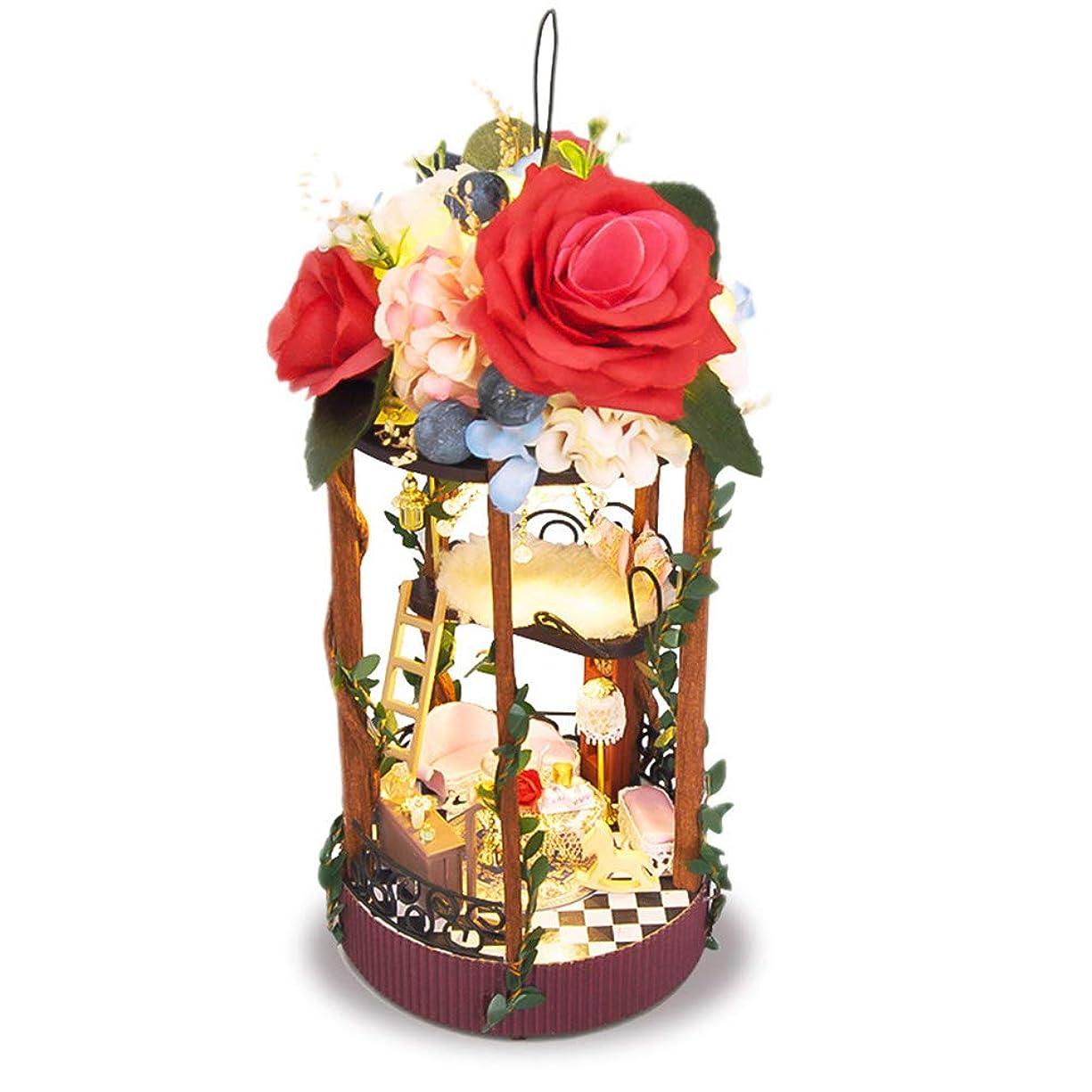 とても一人で受動的LULAA DIYドールハウス ミニチュア 3D花屋 小屋 北欧風コテージ 手作りキット セット 3D家具キット 現代モダン インテリア LEDライト付き プレゼント 雰囲気作り 秘密の花屋