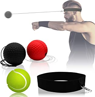 3 Difficulty Levels Boxing Fight Ball Equipment for Improving Punching Speed Reactions GEJRIO Boxing Reflex Ball on String with Headband Hand Eye Coordination and Agility