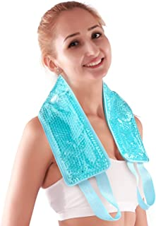 NEWGO®Neck Ice Pack Cooling Gel Neck Wrap with Soft Plush Backing, Hot Cold Pack Gel Bead Ice Pack for Neck & Shoulder Pain Relief (24.8