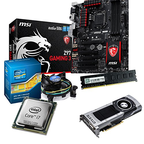 Tronics24 - Kit de actualización para ordenador (Intel Core i7 4790 K Haswell 4 x 4 GHz Quad-Core 4 GB de memoria RAM DDR3 de alta velocidad PC-1600, tarjeta gráfica Nvidia GeForce GTX970 4 GB, placa base MSI Z97 Gaming 3 con chipset Intel Z97, USB 3.0, Killer LAN, sonido 7.1)