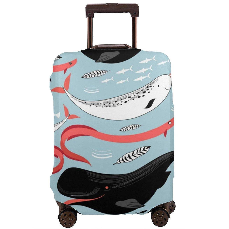 コーラス罪人身元スーツケースカバー キャリーバッグ 鯨と魚 アニマル柄 お荷物カバー ラゲッジカバー 伸縮素材 保護 防塵 旅行 出張 便利 おしゃれ 洗える 着脱簡単S M L XL サイズ