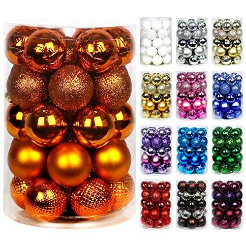 Super Holiday 34ct Christmas Ball Ornaments, 2.36' Small Shatterproof Christmas Tree Decorations, Perfect Hanging Ball for Holiday Wedding Party Decoration (Bronze)