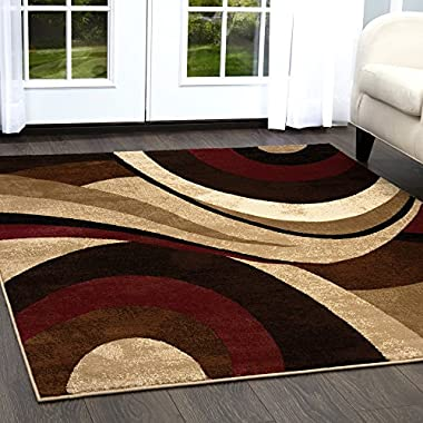 Home Dynamix Tribeca Slade Area Rug 3 Piece Set Abstract Brown/Red