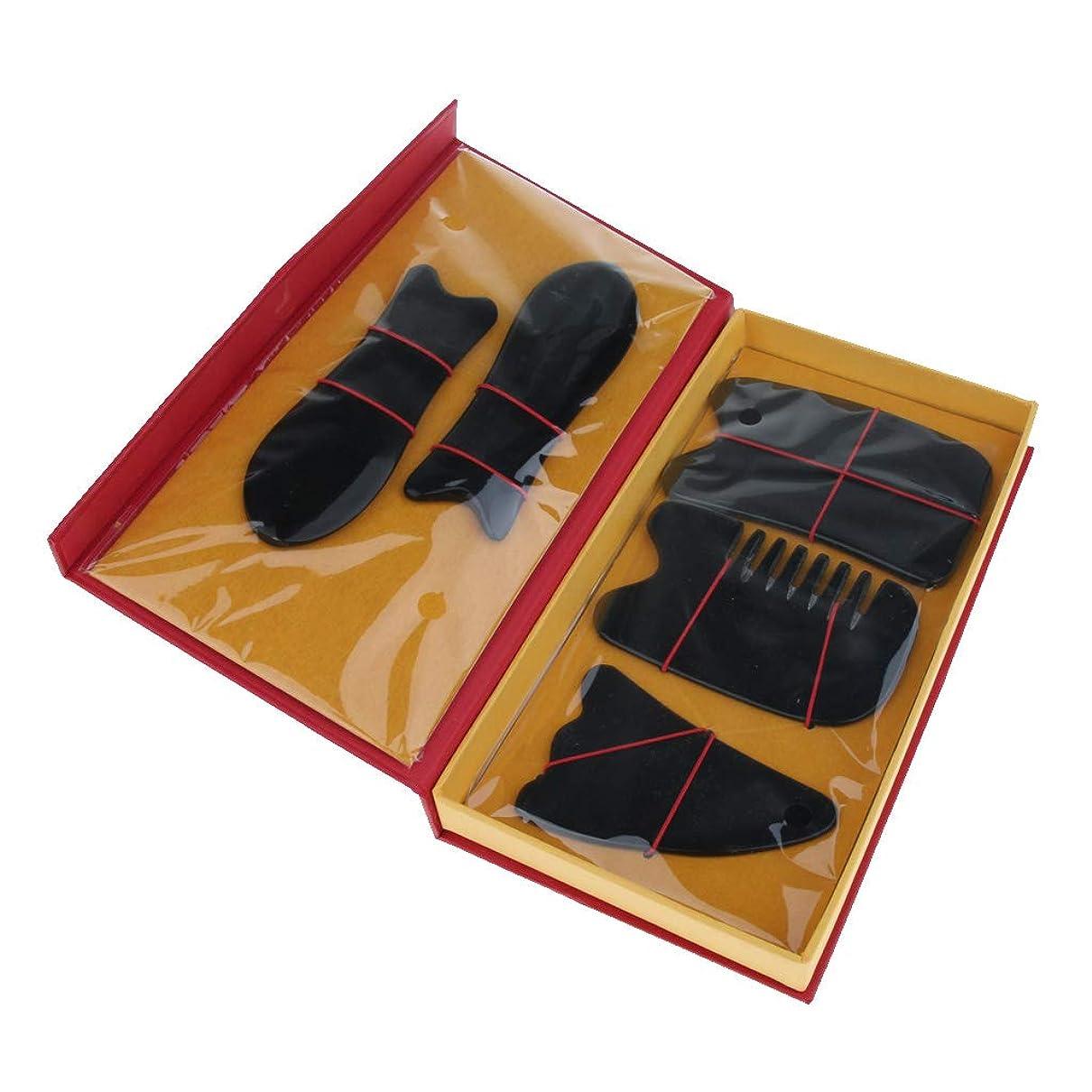 決して遊び場買うPerfeclan 5本セット マッサージボード スクレイピングマッサージ スクレーパーツール 2色選べ - ブラック