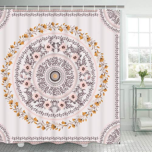 TAMOC Mandala Shower Curtain Floral Medallion Shower Curtain with 12 Hooks, Sketched Flower Shower Curtain with Pink Brown Aesthetic Wreath, Waterproof Hippie Bohemian Bathroom Shower Curtain