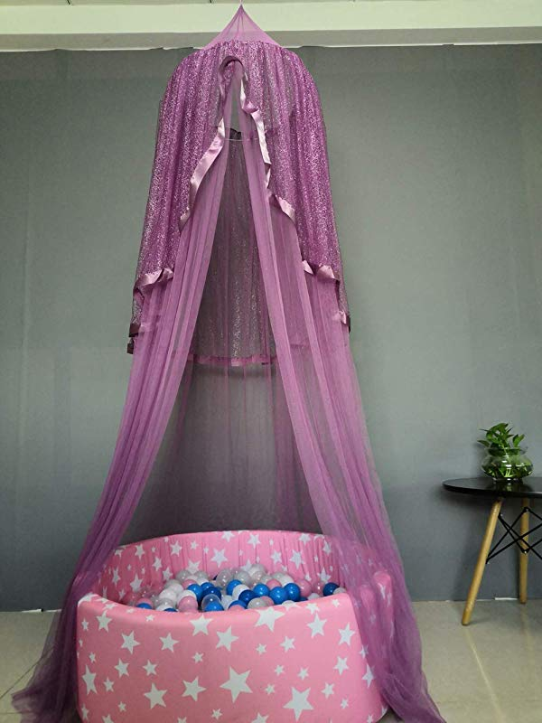 Abreeze Princess Bed Canopy With Silver Lace Mosquito Round Net Canopy Bed Canopy Decoration Game House For Kids Indoor Outdoor Castle Play Tent Purple