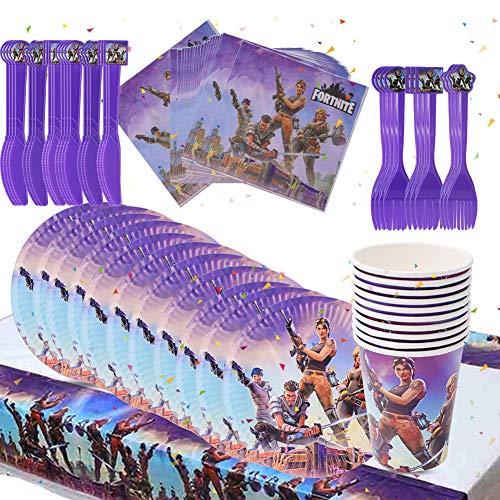 BESLIME Video Gaming Partyzubehör Set einschließlich Teller, Tassen, Servietten, Gabeln und Messer Video Gaming Party Supplies für Kinder