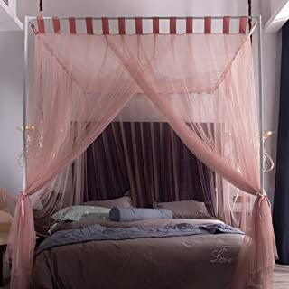 Canopy Bed Curtain for Girls & Adults Mosquito Net - Cute Princess Bedroom Decoration Accessories,Keeps Away Insects & Flies, Pink, 1.5×2m