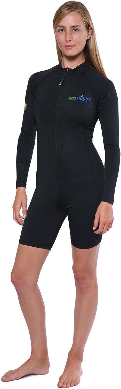 EcoStinger Women One Piece Swimsuit Long Sleeves Sunsuit UV Predection UPF50+ Black