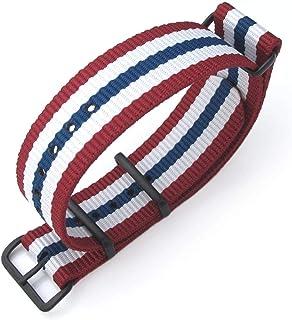 Cinturino MiLTAT 20mm, 21mm o 22mm G10 Cinturino orologio militare Cinturino in nylon balistico, PVD Nero - Red, White & Blue