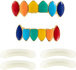 PAMASE Colorful Gold Plated Hip Hop Teeth Grillz Caps- Rainbow Vampire Fangs Top and Bottom Hip Hop Teeth Grills for Halloween Costume Party, Cosplay Performance