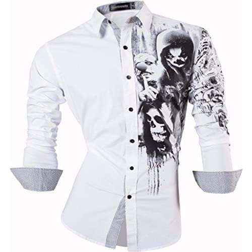 Sportrendy Hombre Camisa Moda Casual Button Down Slim Fit Dress Shirt Tops JZS047 White M