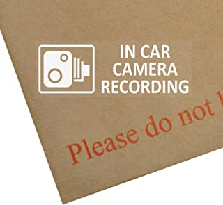5 x Small in Car Camera Recording Stickers-3.4x1.2 INCHES-CCTV Signs-Van,Lorry,Truck,Taxi,Bus,Mini Cab,Minicab-Security-Window-Go Pro,Dashcam White on Clear Window Version Car Truck Bus Lorry Secure