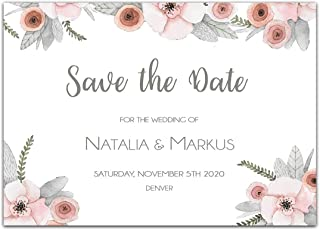 Watercolor Pastel Flowers Save the Date Card Wedding Invitation