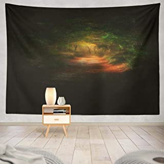 Lylana Fantasy-Landscape Tapestry Wall Hanging,Dark Forest with Light Landscape Fantasy Wall Tapestry for Bedroom Home Decor 60L x 80W inches,Dark Forest Light