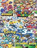 Sonic, Super Mario, Pokemon   3-in-1 coloring book: JUMBO Coloring Book   50+ illustrations   Sonic The Hedgehog   Super Mario   Pokemon   High Quality Colouring Pages   Ages 3-10