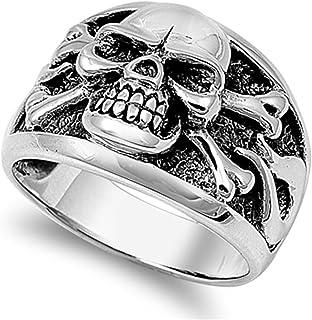 BIKER MEN/'s Stainless Steel Silver Black Skull Face Head Ring Size 7-12*R109