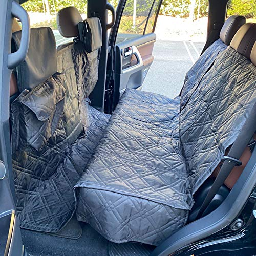 "Formosa Covers Deluxe Quilted and Padded Dog Car Back Seat Cover with Non-Slip Back Best for Car Truck and SUV - Travel with Your Pet Mess Free - Universal Fit 56""x94"", Black"