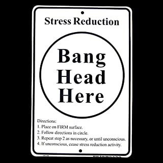 Stress Relief Bang Head HERE Metal Tin Sign Anti-Stress System Tool Office Humor