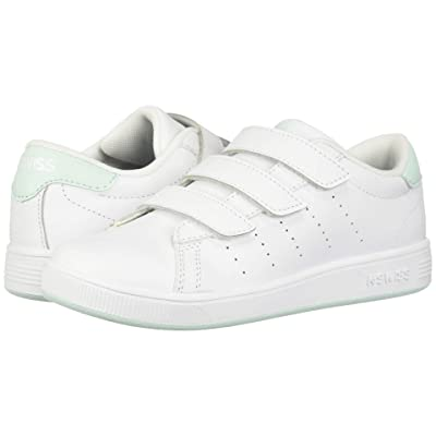 K-Swiss Clean Court 3-Strap (Little Kid) (White/Soothing Sea) Shoes