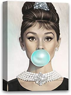 Hepburn Fans Star Fashion Illustration for Room Decor Hepburn Blowing Bubble Gum Canvas 8