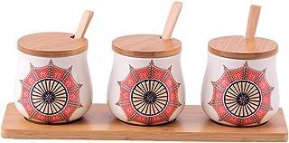 Pots à épices,Boîte de Rangement pour épices, boîte à épices, Pot à épices en céramique, Trois pièces, assaisonnement de C...