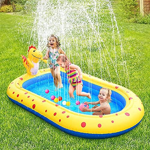 Splash Pad Sprinkler Pool 67\'\'/170cm Kinder Swimming Pool Wasserspaß Spielzeug Gross Wasserspielmatte Play Matte Freien Sommer Garten Aufblasbarer Pool für Jungen Mädchen