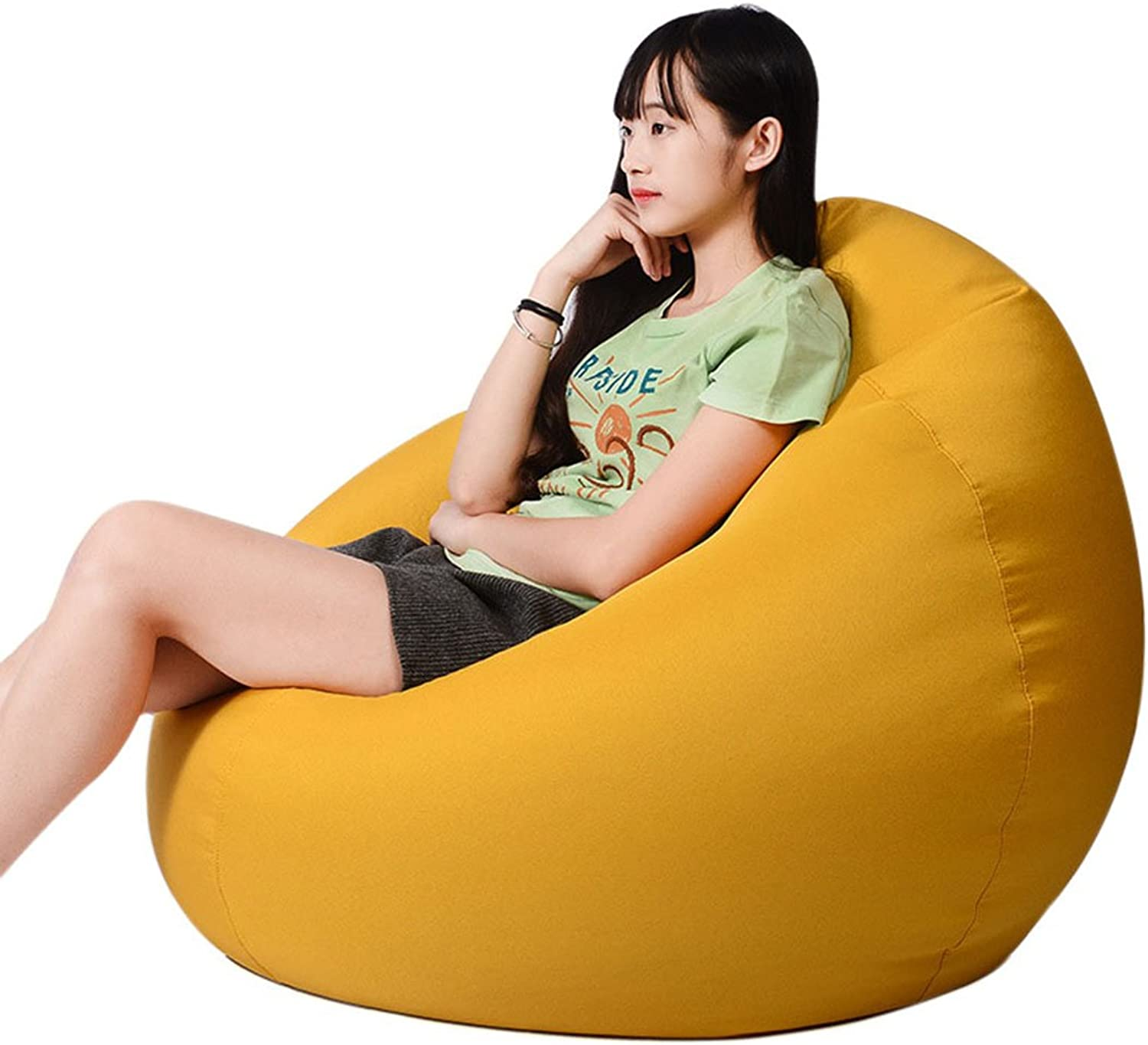 Freahap Huge Bean Bag Chair 35  for Adult Memory Foam Filled Sofa Lounge Couch Removable Cover Yellow