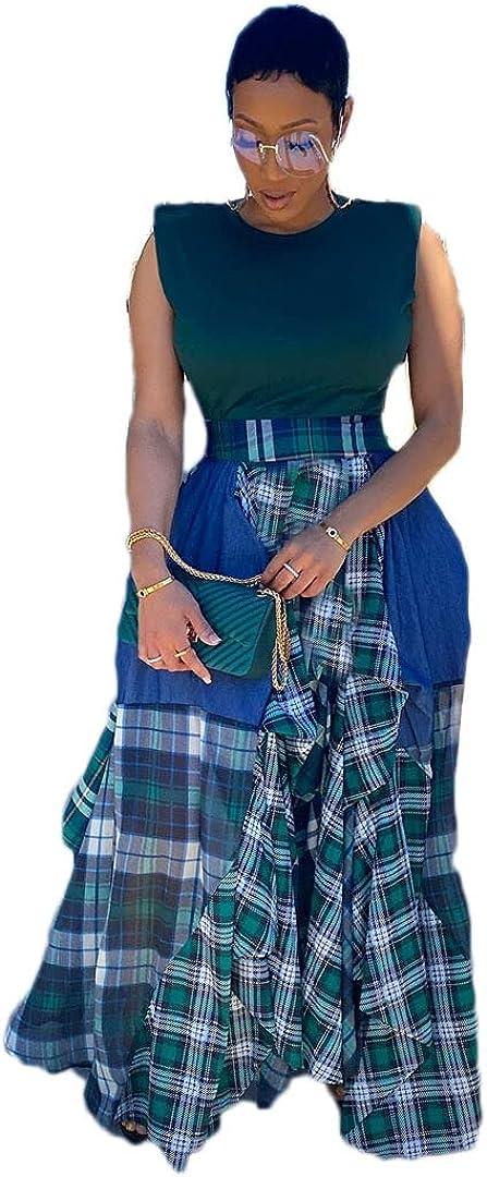 Pulkritu Women Irregular Maxi Skirts - Vintage Patchwork Plaid Long Skirt (Blue,XXXXL)