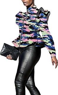 Womens Long Sleeve Slim Zipper Camouflage Print Coat Jacket Outwear
