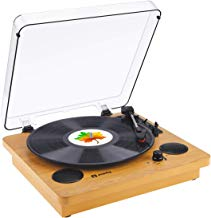 Record Player Popsky Vintage Bluetooth Vinyl Player with Stereo Speakers, 3 Speed Belt-Drive LP Turntable, Vinyl to MP3 Recording, RCA Output, 3.5mm Aux Input