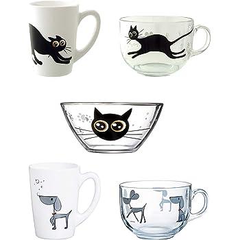 Luminarc Mistigri-Mabrouk Set 5 tazas desayuno mugs originales tazones infantiles de vidrio para microondas, Negro: Amazon.es: Hogar