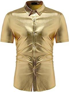 OULSEN Mens Shirt Fashion Bright Golden Slim Dress Shirt Short Sleeve Lapel Button Down Casual Shirt Night Club Blouse