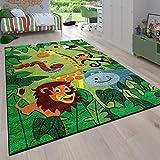 Alfombra Habitación Infantil para Niños Motivo De Animales Y Selva Pelo Corto, tamaño:80x150 cm, Color:Verde