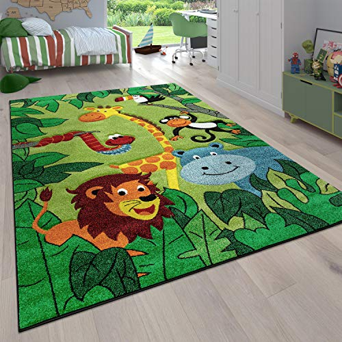 Paco Home Tapis pour Enfant Poils Ras Chambre Enfant avec Motifs Animaux et Jungle, Dimension:80x150 cm, Couleur:Vert