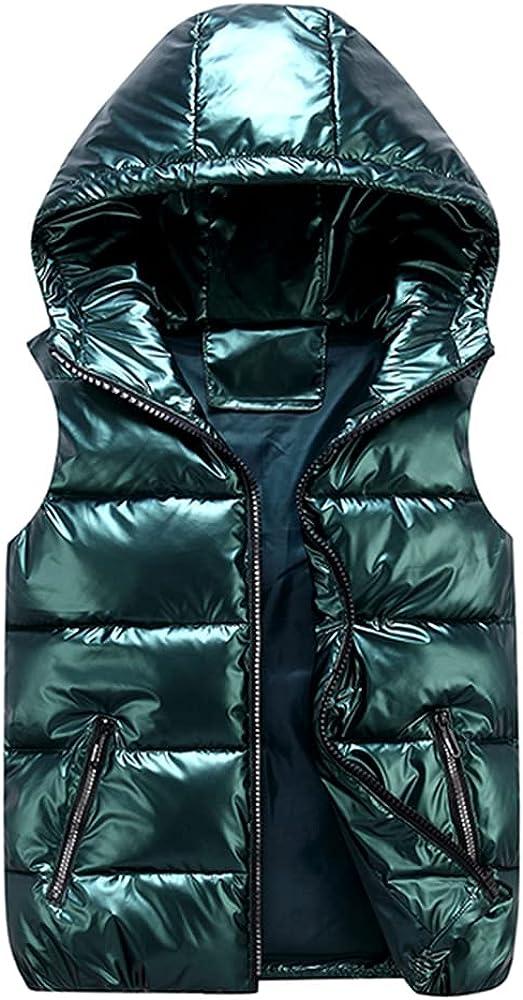 Men's Sleeveless Shiny Vest Winter Hood Padded Red Black Autumn Down Waistcoat