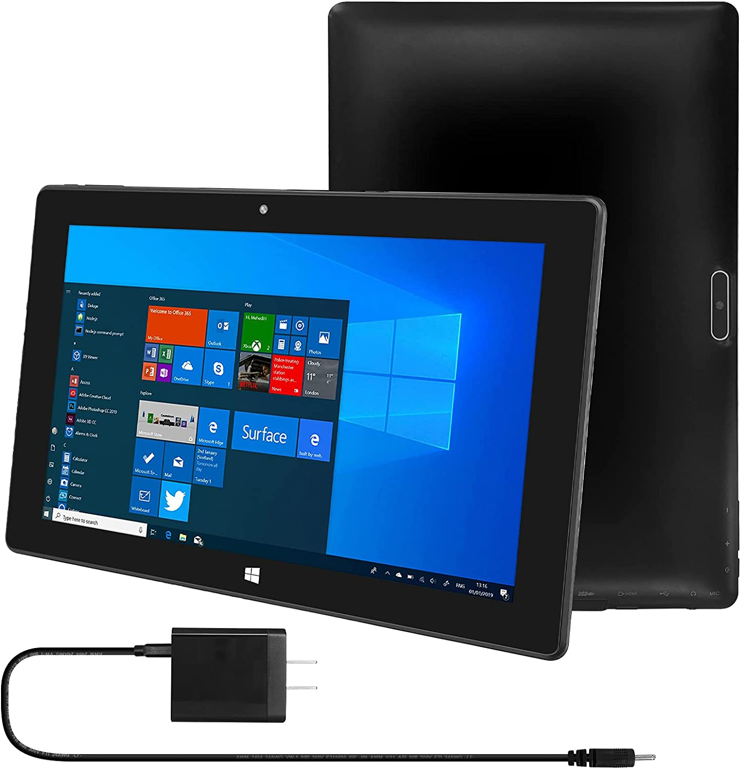 """10.1 inch Windows Tablet with Charger, 10"""" HD IPS Touchscreen with DC Cable, 4GB RAM 64 GB Storage, 2MP Camera, for Microsoft Surface PC with Wi-Fi, Bluetooth, Dual Speaker,Game"""