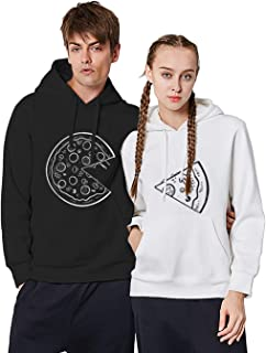 Couples Hoodies for Him and Her Pizza Matching Sweaters for Couples Gift 2 Pcs