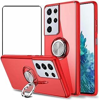 جراب Doao Oppo Reno6 Pro+ 5G، جراب واقٍ بمسند دائري 360 درجة، مع واقي شاشة من الزجاج المقوى لهاتف Oppo Reno6 Pro+ 5G - أحمر