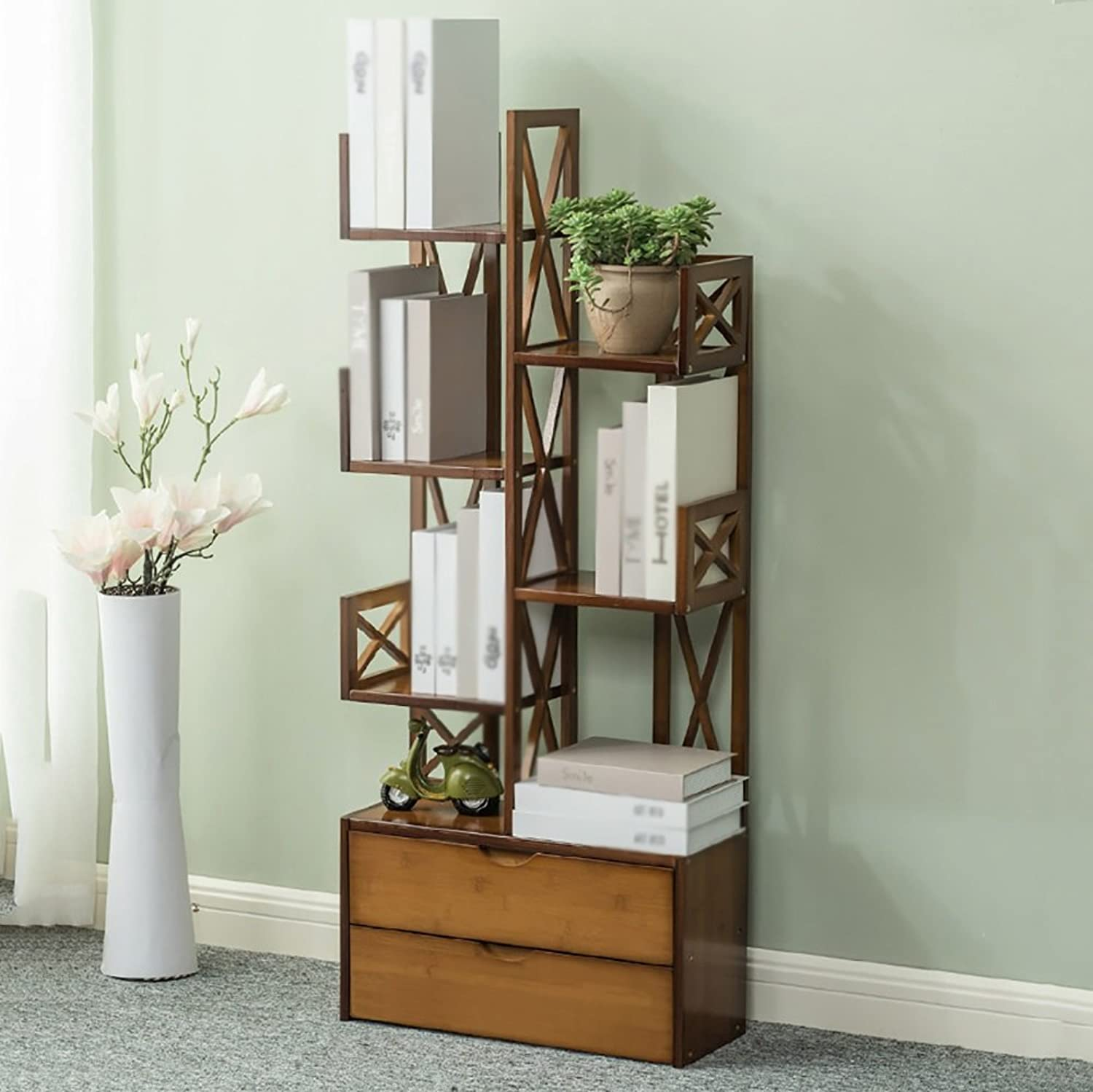 Bookshelf Bookcase Tree-shaped Floor-standing Bamboo Multilayer Storage Student Living Room Study Bedroom Flower Stand (color   6-tier, Size   52cm)