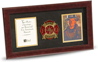 Allied Frame US Firefighter Medallion Double Picture Frame - Two 4 x 6 Photo Openings