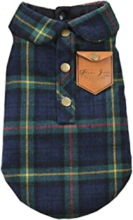 BBEART Pet Clothes, England Plaid Double Layer Flannel T-Shirt Autumn Winter Warm Dog Clothes for Small or Medium Pet Dogs Clothing Chihuahua Yorkshire Poodle Apparel Costumes